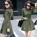 Blusão feminino Outono Coreano da forma das mulheres de Slim era Magro gola single-breasted casaco longo-manga mulheres jaqueta MZ1050
