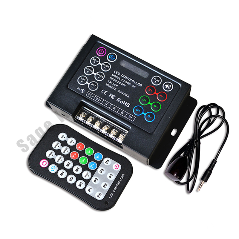 LT-3800-6A;LED RGB Controller Dimmer with remote controller;DC5V-24V input;6A*3CH output for led strip lights lamp tape ribbon m3 m4 5a m3 touch rf remote with m4 5a cv receiver led dimmer controller dc5v dc24v input 5a 4ch max 20a output