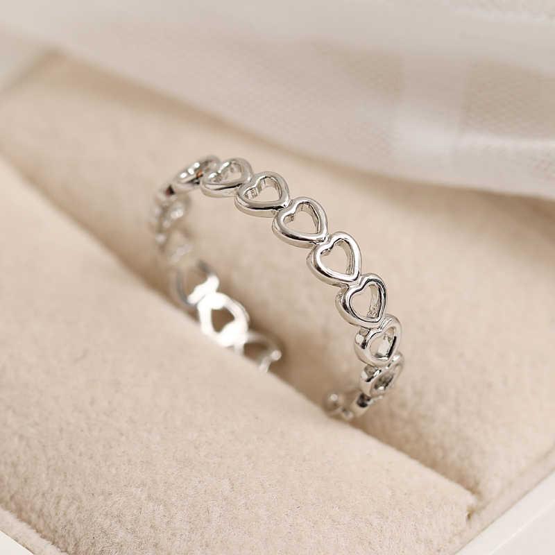 Серебряный цвет выдолбленное сердце форма Открытое кольцо дизайн милая Мода Любовь ювелирные изделия для женщин молодых девочек Подарки для детей регулируемый