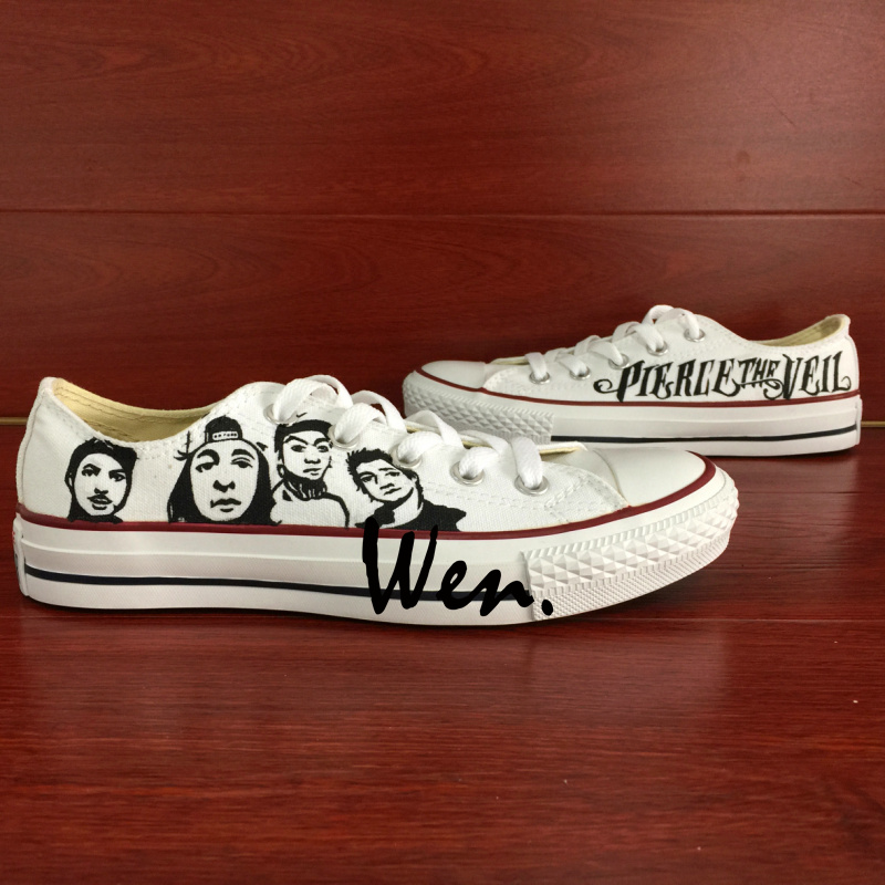 Wen Hand Painted Shoes Design Custom Pierce the Veil White Low Top Men Womens Canvas Sneakers Birthday Gifts