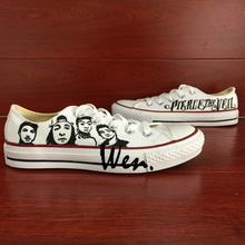 Wen Hand Painted Shoes Design Custom Pierce the Veil White Low Top Men Women's Canvas Sneakers Birthday Gifts