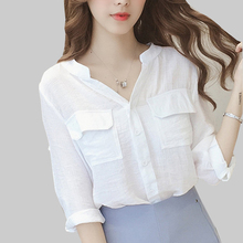 shintimes Pockets White Blouse Women 2019 Woman Blouses And Shirts For Ladies Tops Three Quarter V-Neck Korean Chemisier Femme