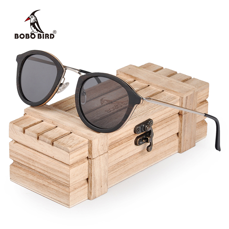 BOBO BIRD Polarized Wood Sunglasses Women Zebrawood Frame Metal Leg Fashion Retro Vintage Design With UV400 Protection AG028