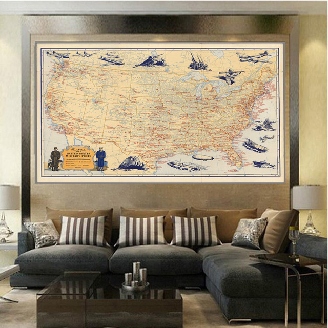United States Military Map Fashion Living Room Paintings Print On ...