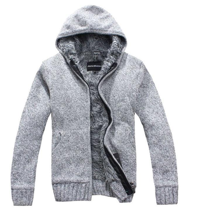 Hot 2017 new Men s Fashion winter Knitted jacket Coat Cotton Hooded thick white cardigan sweater