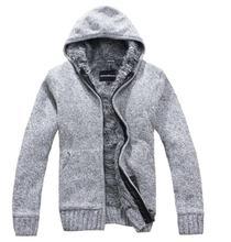 Heißer 2017 neue Herrenmode winter Gestrickte jacke Mantel Baumwolle Kapuzen thick weiße strickjacke Pullover männer XXL, XXXL W 136