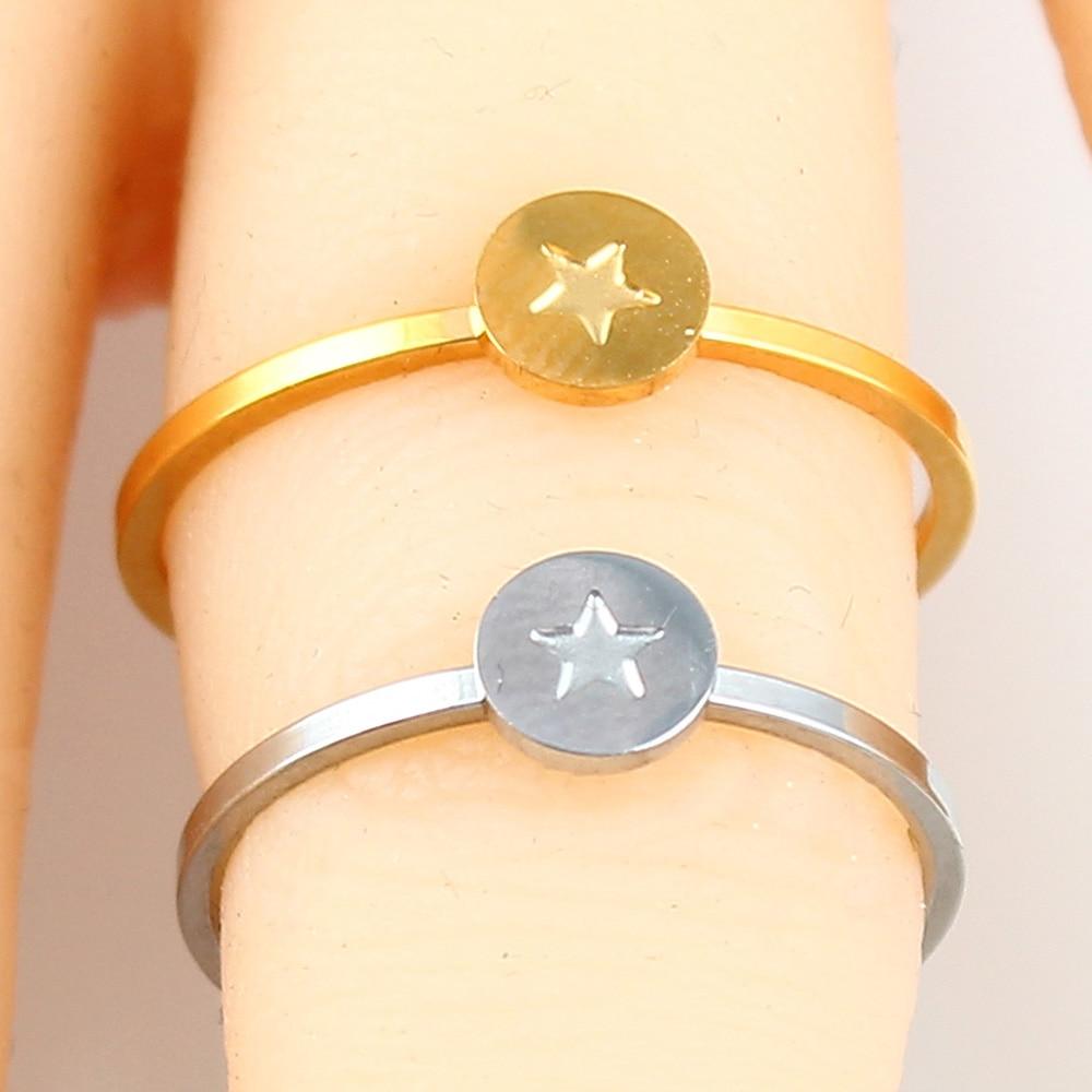 Кольцо в форме сердца с буквами, ювелирные изделия из нержавеющей стали, кольцо для аксессуаров, Серебряное Золотое кольцо на палец, набор ювелирных украшений для женщин - Цвет основного камня: star-2