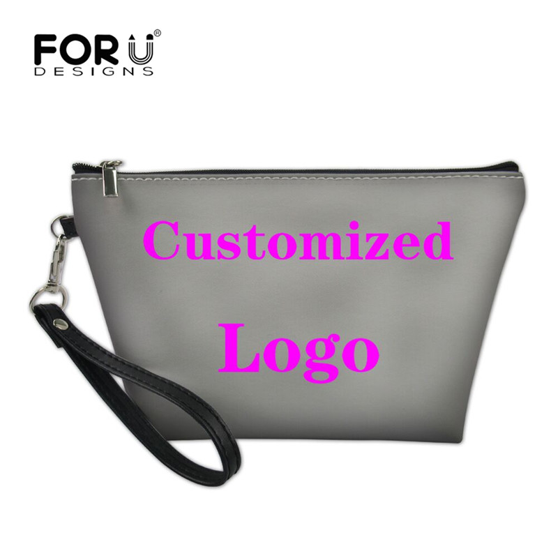 FORUDESIGNS Customize With Your Logo Image Women Make Up Bag Necessarie Travel Organizer For Cosmetics Bag Printing Vanity Case