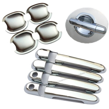 FUNDUOO New Chrome Car Side Door Handle Cover + Cup Bowl Trim Sticker For Hyundai Accent 2007 2008 2009 2010 2011
