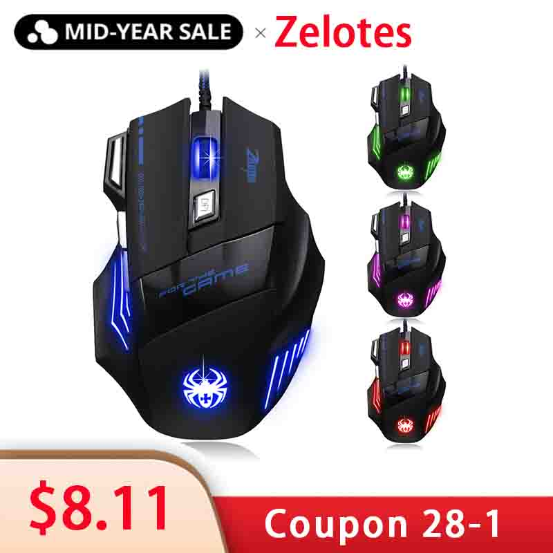 ZELOTES T-80 Gaming Mouse 7200 DPI Backlight Multi Color LED Optical 7 Button Mouse Gamer USB Wired Gaming Mouse for Pro Gamer