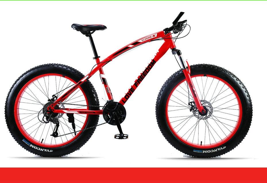"HTB157ZhbgFY.1VjSZFqq6ydbXXaX Love Freedom Mountain Bike 7 Speeds, 21Speeds .24 Speeds .27 Speeds Fat Bike 26x4.0""  Off-road gear reduction Beach Bike"