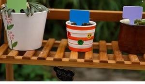 Image 2 - Etiqueta de planta de vivero de plástico de ornamentos de jardín 200 Uds. Marca de etiqueta gruesa de flor para el jardín estacas tipo T Colore