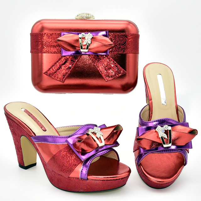 Latest Italian Shoes with Matching Bags for Women Matching Shoes and Bag Set In Heels Nigerian Women Party Shoes with Rhinestone