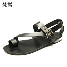 Genuine Leather sandals summer cowhide Roman mens gladiator Flip Flops casual Shoes beach outdoor