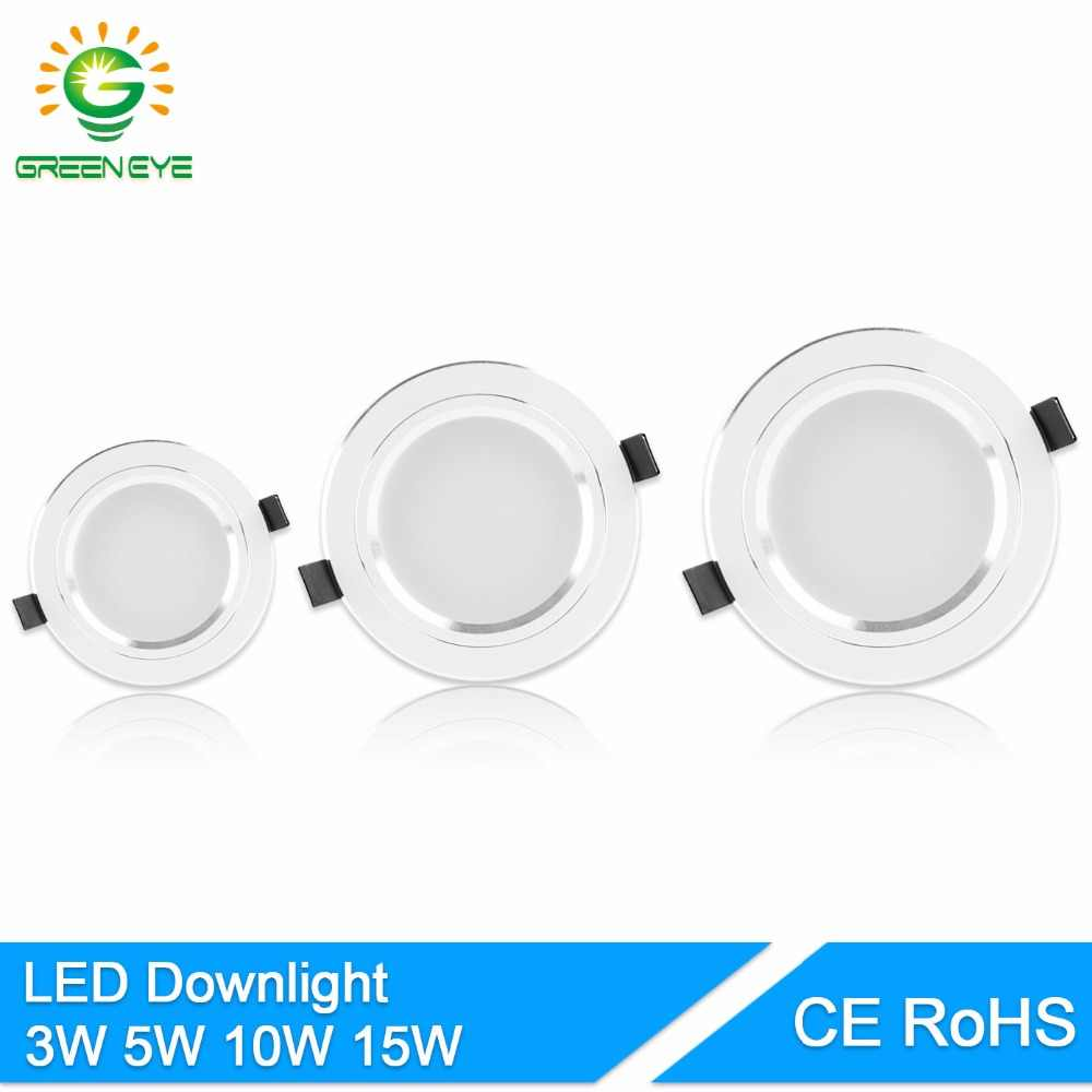 GreenEye LED Downlight 5W 10W 15W AC110 V220V Ceiling Led Lamp Recessed LED Down Light Indoor Lighting Home Aluminum Spot Light