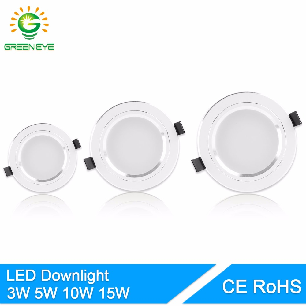 GreenEye LED Downlight 5W 10W 15W AC110 V220V Lámpara de techo Led Empotrada LED Down Light Iluminación interior Luz de punto de aluminio