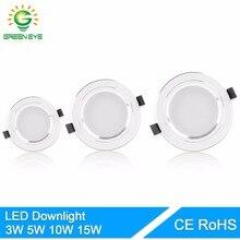 GreenEye LED Downlight 5W 10W 15W AC110 V220V Ceiling Led Lamp Recessed LED Down Light Indoor Lighting Home Aluminum Spot Light