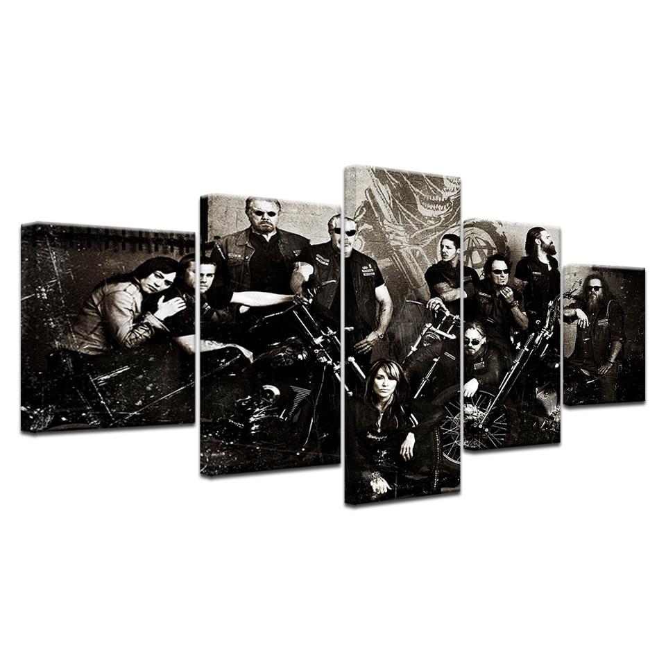 5 Panel HD Impreso Hijos de la Anarquía Serie de TV carteles de - Decoración del hogar - foto 6