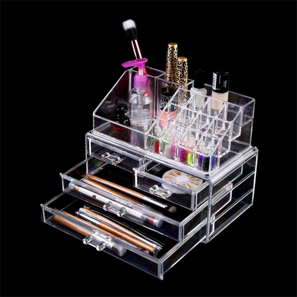Clear Acrylic Cosmetic Organizer 4 Drawers Makeup Case Storage Holder Box Makeup Sundry Holder Display Stand Organizer