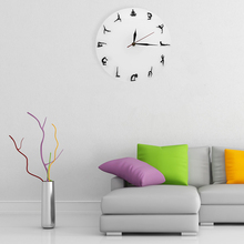 1Piece Yoga Wall Art Decorative Acrylic Bodybuilding Wall Clock Health Lose Weight Decor Gifts Silhouette Watch