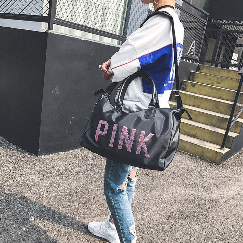 Wobag Ladies Black Travel Bag Pink Sequins Shoulder Bag Women Handbag Ladies Weekend Portable Duffel Bag Waterproof Wash 2