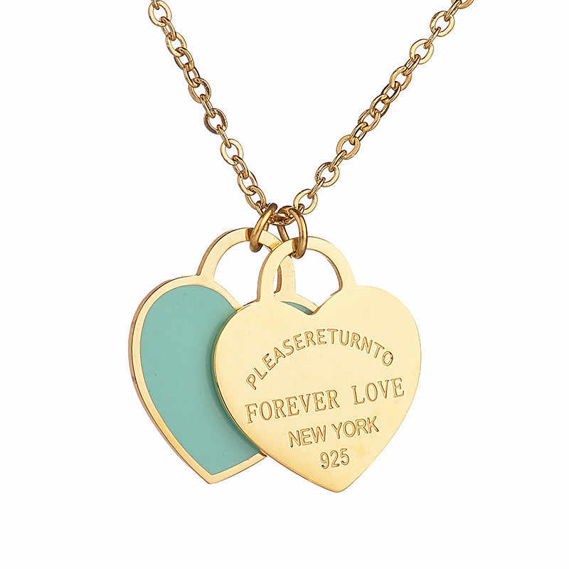 Fashion Stainless Steel Heart Necklace Pendant Gold Color Green Charm Women Tiff Brand Design New York Choker Jewelry Gif