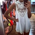 Summer Women Lace Sleeveless Dress Hollow Mini Crochet Dress S-XXL Black White Free Shipping