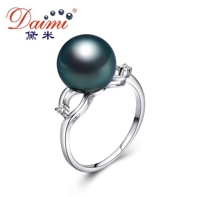 4b9fccaddd77 Daimi  de las mujeres anillo de la perla 18 k de oro blanco y ...
