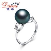 DAIMI Women S Pearl Ring 18K White Gold Diamond High Quality 10 11 Mm Black Tahitian