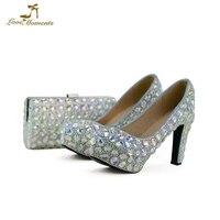 Кристалл AB свадебные туфли на не сужающемся книзу массивном каблуке женские выходные туфли лодочки для выпускного с подходящая Сумочка рос