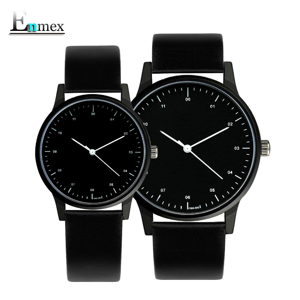 2018gift Enmex cool couple watch wristwatch Brief vogue simple stylish Genuine leather band casual quartz  fashion lover's watch