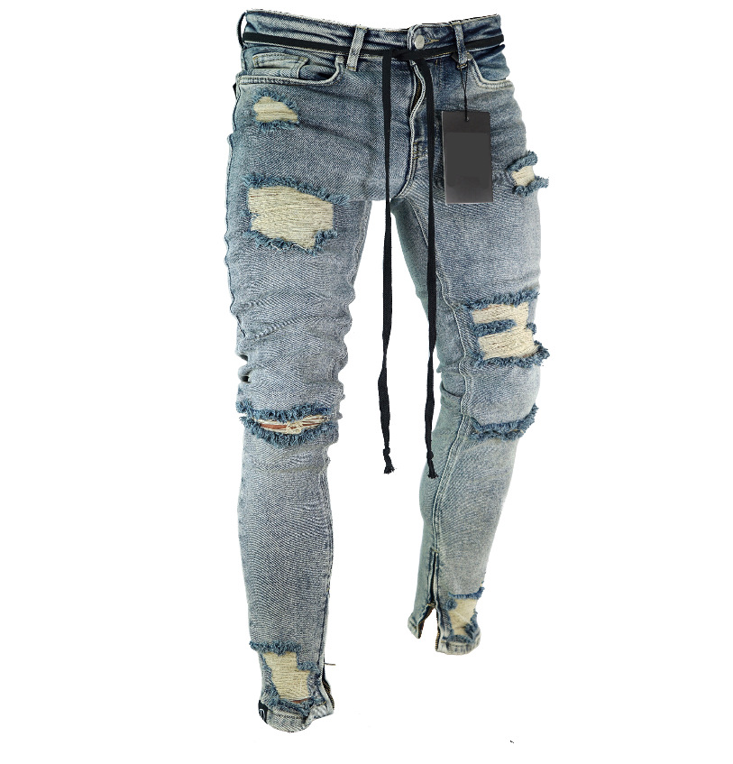 Long Pencil Pants Ripped   Jeans   Slim Spring Hole 2018 Men's Fashion Thin Skinny   Jeans   for Men Hiphop Trousers Clothes Clothing