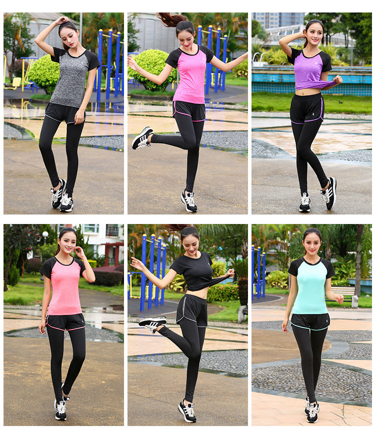5 Piece Set Yoga For Women's Running Fitness T-Shirt Sports Bra Wear Fitness Clothing Women Training Set Sport Suit