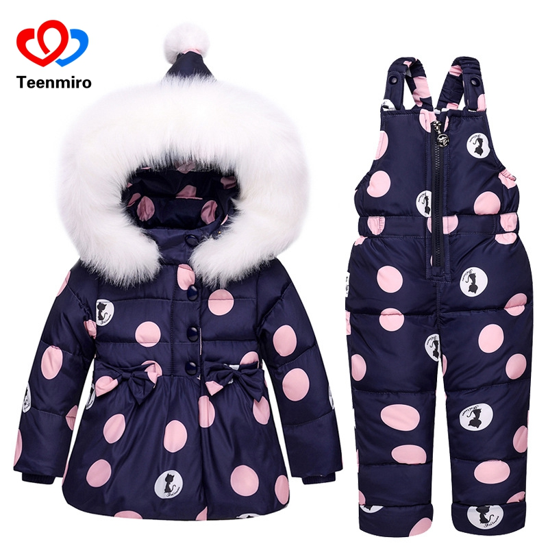 Kids Snowsuit for Girls Clothes Set Children Hoodie Down Coat+Jumpsuit Winter Snow Wear Ski Suit Warm Baby Jackets Overalls 1-3T недорого