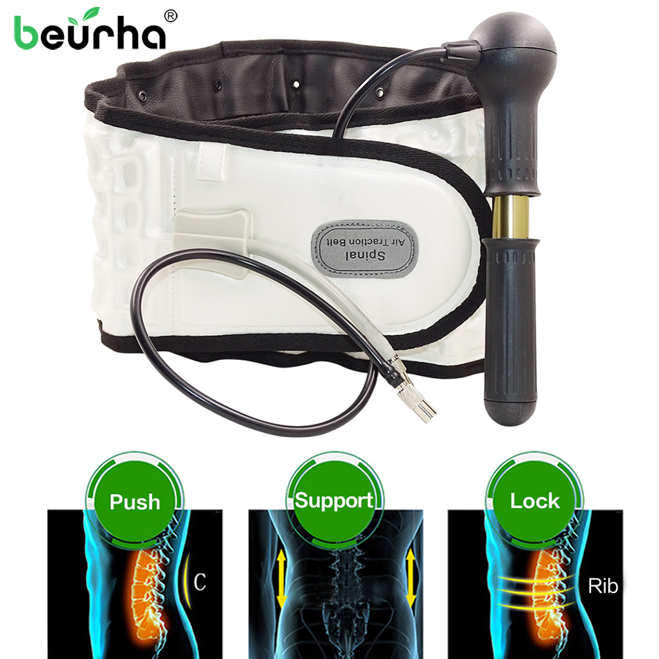 2019 NEW Support Belt Care Physio Decompression Back Relief Waist Lumbar Traction Backache Heat Therapy Pain