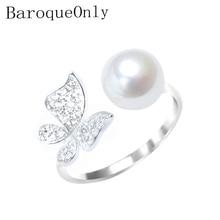 Barokowy pierścionek z perłą 925 srebrny pierścionek Pave ustawienie cyrkon motyl projekt moda komunikat pierścionek koktajlowy dziewczyna prezent