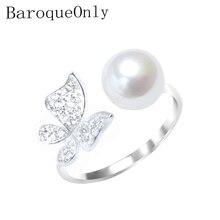 BaroqueOnly פרל טבעת 925 כסף סטרלינג טבעת פייב הגדרת זירקון פרפר עיצוב אופנה הצהרת קוקטייל טבעת ילדה מתנה