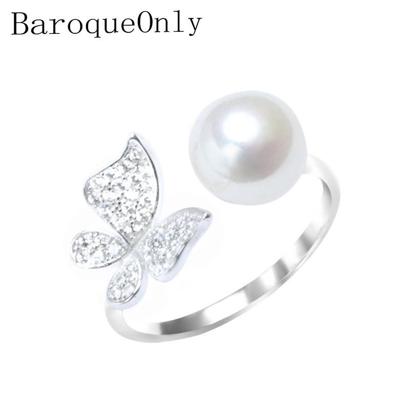 BaroqueOnly Pearl Ring 925 Silver Sterling Ring Pave Setting Zircon Butterfly Design Fashion Statement Cocktail Ring Girl Gift
