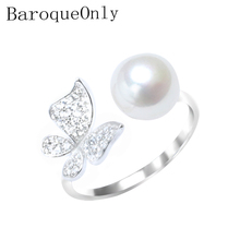 Baroqueonly 真珠の指輪 925 シルバースターリング設定ジルコン蝶デザインのファッションステートメントカクテルリングガールギフト