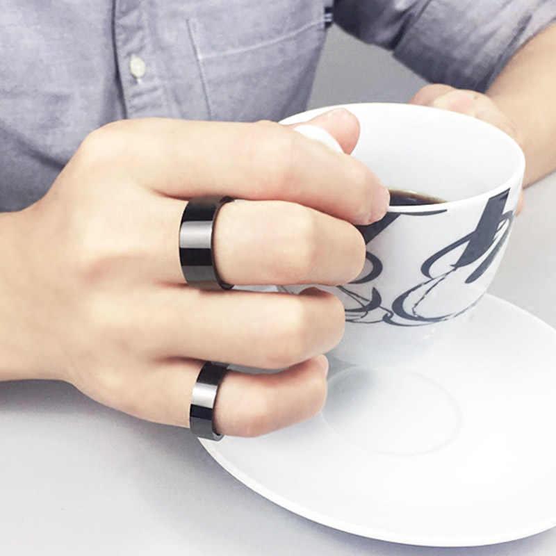 Hot nouveau Simple 1 PC titane noir hommes anneau de doigt Style Punk fête anti-allergie anneau mode meilleurs cadeaux bijoux