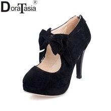 Nuevas Adquisiciones de Gran Tamaño 30-47 Plataforma de La Manera zapatos de Tacón Alto de Las Mujeres Bombas Primavera Verano Del Banquete de Boda Bowtie Zapatos de Mujer