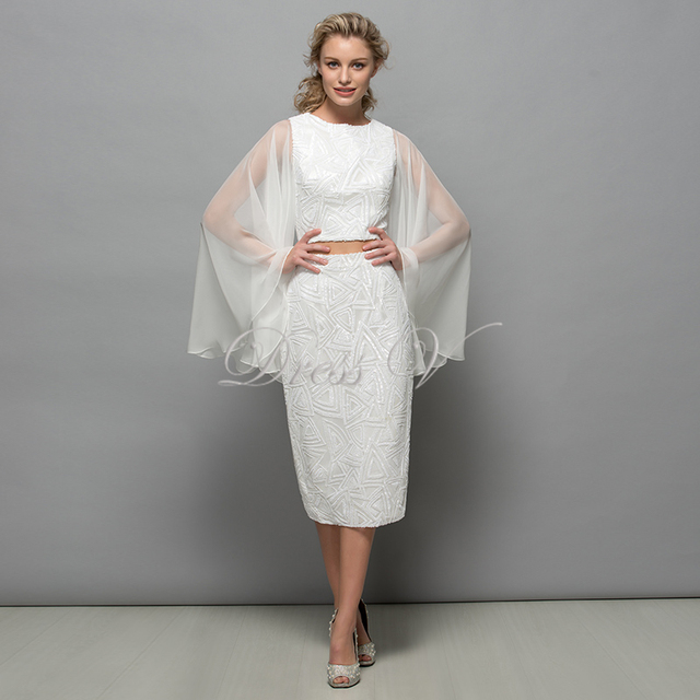 White Sequins Two Piece Cocktail Dresses With Flare Long Sleeves ...