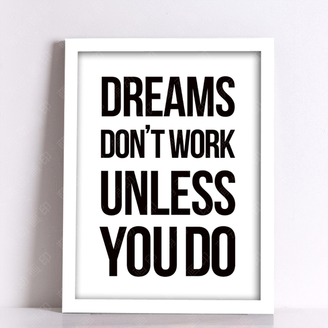 nordic decoration dreams don t work word quote wall art canvas