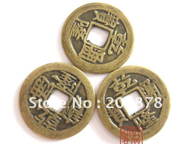 Nbb432 Fengshui Münze Schöne Goldene Münze 23mm 50 Stücke Los Alte