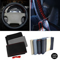 Free shipping Universal Car Steering Wheel Cover Needles and Thread Artificial leather DIY Steering Wheel Car Covers