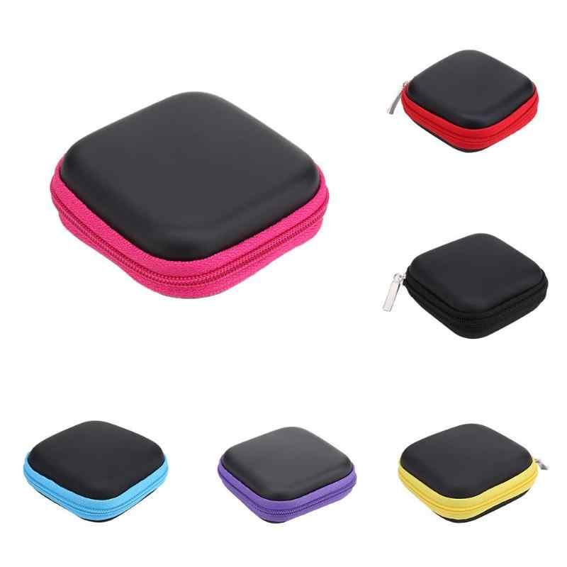Carré EVA/PU boîte de rangement étui pour écouteurs casque carte mémoire MP3 casque données câble organisateur boîte sac support