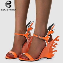 BONJOMARISA New INS Hot Fire High Heels Wedges Sandals Women 2019 Summer Large Size 35-42 Fashion Party Date Shoes Woman