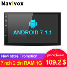 "Navivox 7"" Car Multimedia Player 2 din  Android 7.1.1 Quad Core Universal GPS  Radio GPS Stereo Audio Player for nissan no dvd"