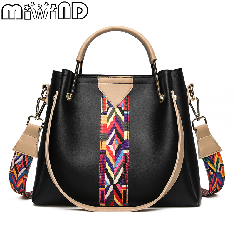 MIWIND New Women Handbags High Quality Knitting Strap Shoulder Bags Frame Handle Female Bag Buy One Gift Another Two Bags