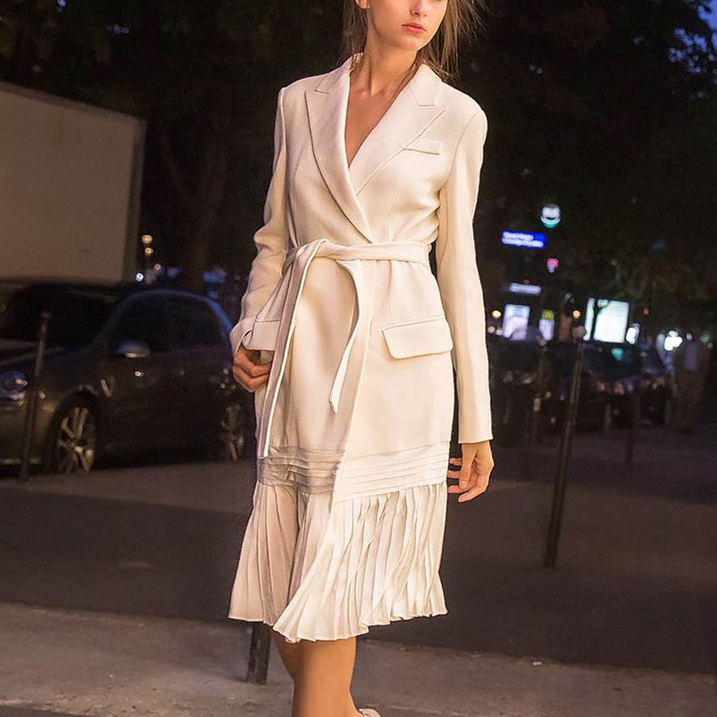 Small Suit High end Pleated Body building Tie Medium Long style Jacket 2019 Sashes Hidden Breasted Women Jackets and Coats in Blazers from Women 39 s Clothing
